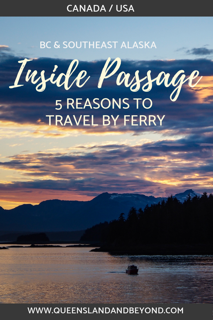 Explore the magnificent Inside Passage in southeast Alaska by ferry! Start in Canada and travel all the way up to Alaska on the Alaska Maritime Highway. Here are five reasons why you should travel the Inside Passage by ferry and skip those expensive cruises!