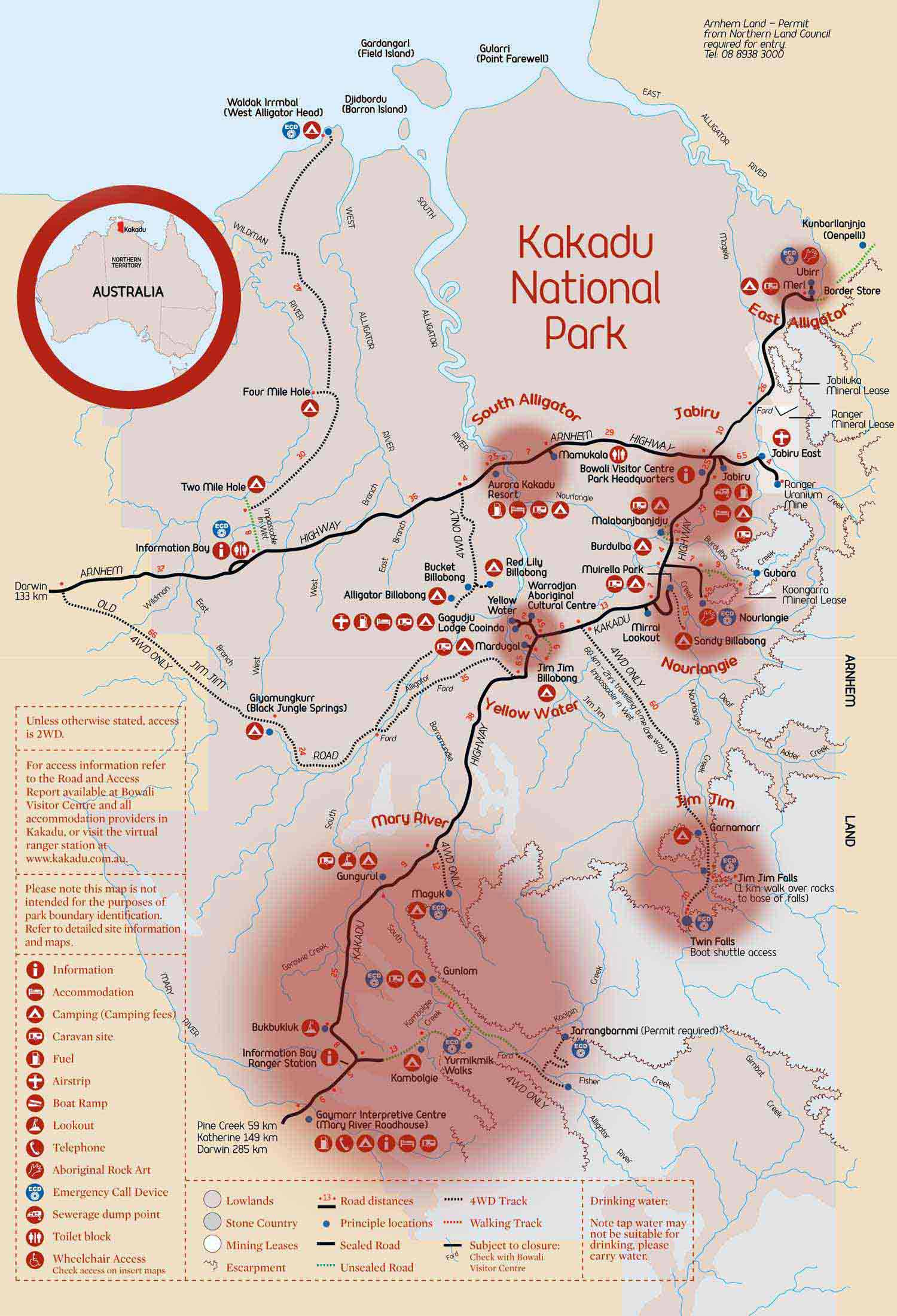 Kakadu National Park Map Exploring Kakadu National Park: Walking trail ideas