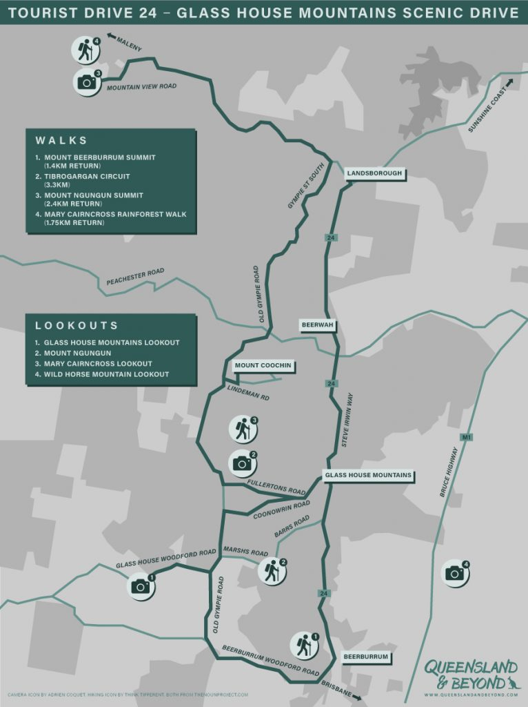 Map of Glass House Mountains Scenic Drive