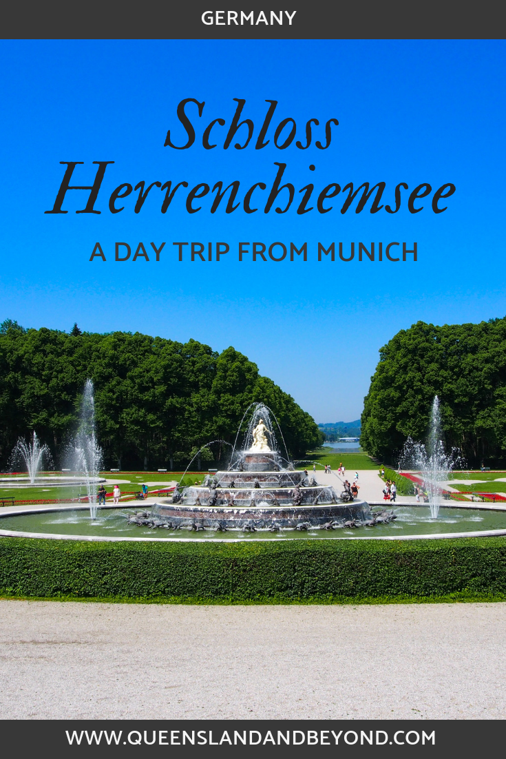 View of the gardens and fountains at Herrenchiemsee Palace, Germany